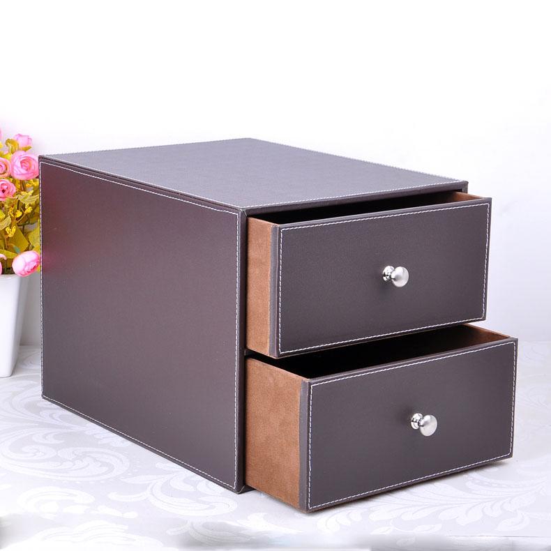 [해외]더블 레이어 더블 서랍 나무 구조 가죽 책상 제출 캐비닛 스토리지 박스 오피스 주최자 문서 컨테이너 갈색 (214B)/double layer double drawer wood structure leather desk filing cabinet storage bo