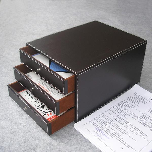 [해외]핫 3 층 3 서랍 나무 구조 가죽 책상, 서류함 스토리지 박스 오피스 주최자 문서 컨테이너 브라운 213A/Hot 3-layer 3-drawer wood structure leather desk filing cabinet storage box office or
