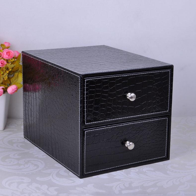 [해외]더블 레이어 더블 서랍 나무 구조 가죽 책상, 캐비닛 스토리지 박스 오피스 주최자 문서 검은 악어 제출/double layer double drawer wood structure leather desk filing cabinet storage box office