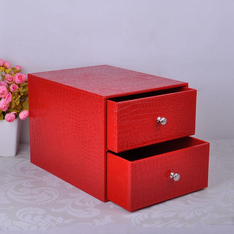 [해외]더블 레이어 더블 서랍 나무 구조 가죽 책상, 캐비닛 박스 오피스 주최자 문서 컨테이너 악어를 제출 red214D/double layer double drawer wood structure leather desk filing cabinet box office o