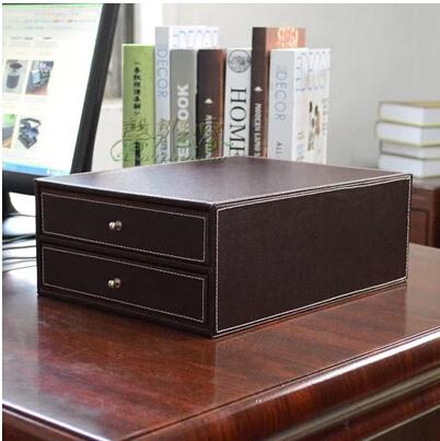 [해외]?2 서랍 나무 구조 가죽 컨테이너 책상 파일 캐비넷 사무실 스토리지 박스 오피스 주최자 문서 컨테이너 WJG001/ 2-drawer wood structure leather container desk filing cabinet office storage box