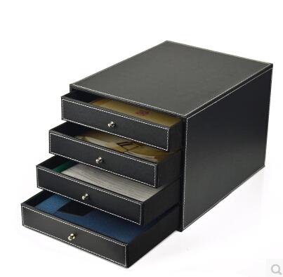[해외]4 서랍 나무 구조 가죽 컨테이너 책상 파일 캐비넷 사무실 스토리지 박스 오피스 주최자 문서 컨테이너 WJG002/4-drawer wood structure leather container desk filing cabinet office storage box o