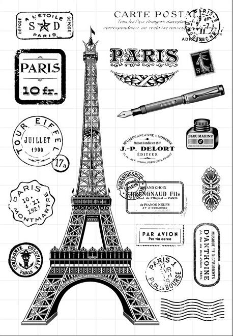 [해외]Eiffel Tower Transparent Clear Silicone Stamp/Seal for DIY scrapbooking/photo album Decorative clear stamp sheets/5431/Eiffel Tower Transparent Cl