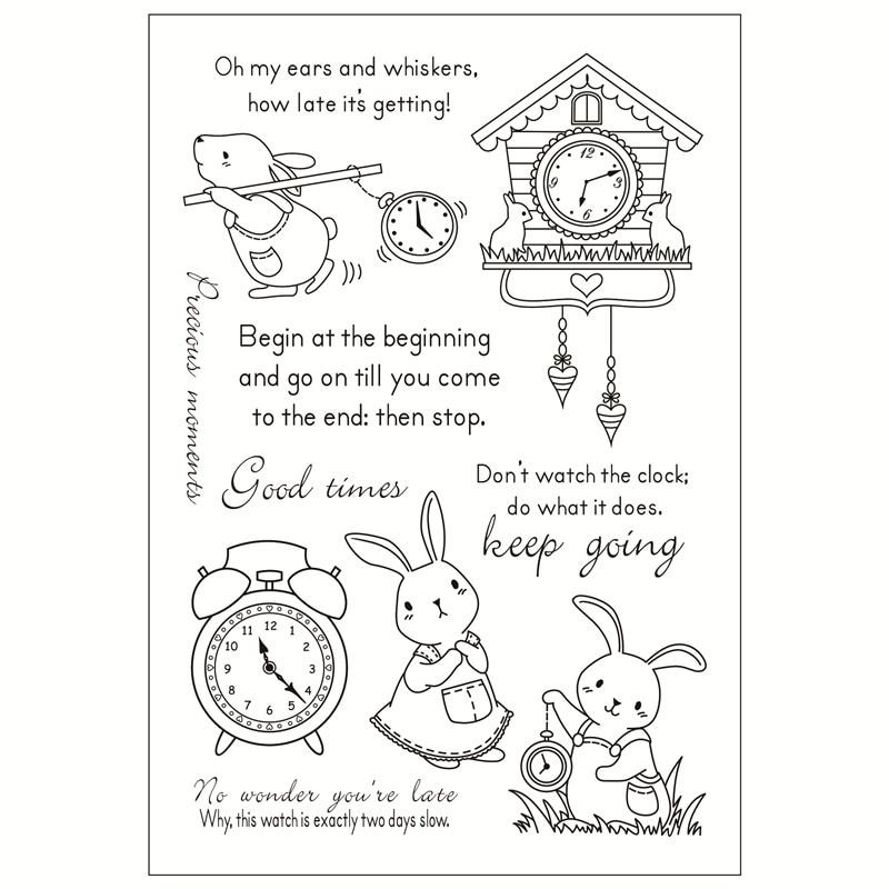 [해외]Rabbit alarm clock  Transparent Silicone Stamp/Seal for DIY scrapbooking/photo album Decorative clear stamp/Rabbit alarm clock  Transparent Silico