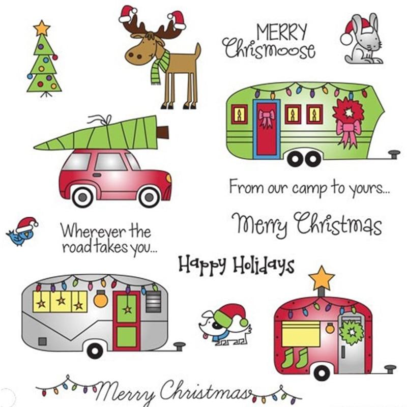 [해외]Happy Holiday House  Transparent Clear Silicone Stamp/Seal for DIY Scrapbooking/Photo Album Craft Decorative Clear Stamp 6X8IN/Happy Holiday House