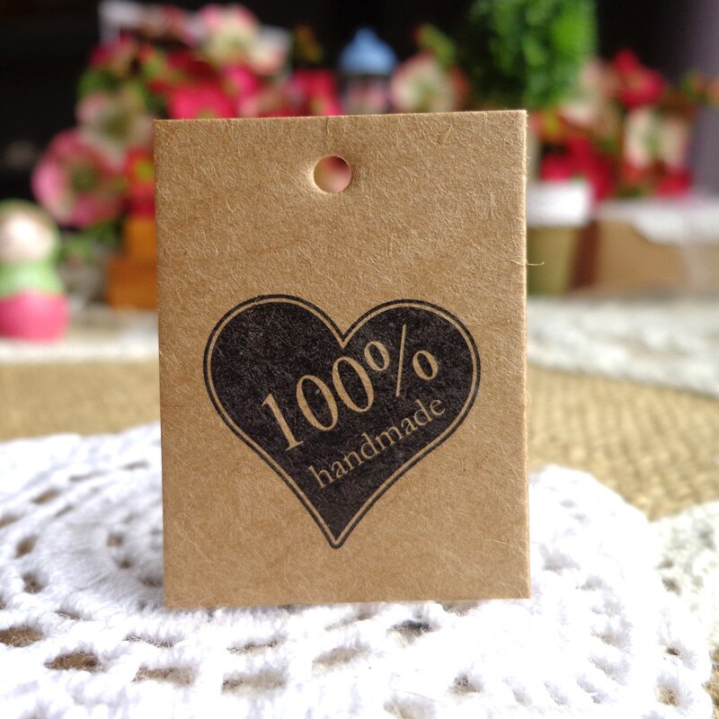 [해외]100pcs Heart Design Kraft Bookmark 100% Handmade Design Gift Tags DIY Creative Price Label Paper Hang Tags 3x4cm /100pcs Heart Design Kraft Bookma