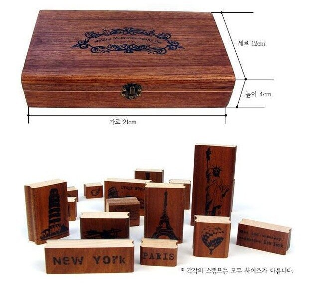[해외] wood travel stamps Pairs New York Roman Italy memories stamp mini stamp/Iron Box/multi-purpose wood stamps/ wood travel stamps Pairs New York Rom
