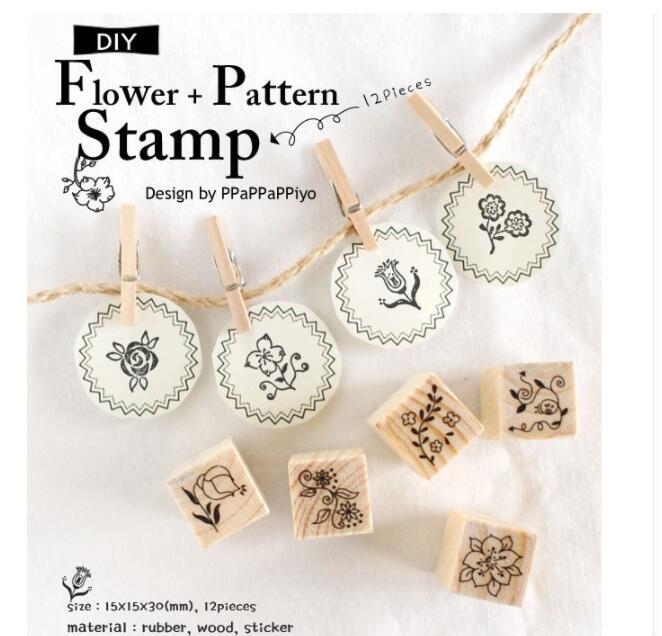 [해외]12Pcs/set New Clear Stamps Flower pattern DIY Wooden Rubber Stamp Set Crafts Handmade Photo Album Stamps/12Pcs/set New Clear Stamps Flower pattern