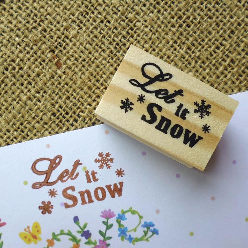 [해외]1pc Natural Wood Stamp Let It Snow Merry Christmas Scrapbook Kid Students Stationery DIY Xmas Wooden Hand Made Snow Rubber Stamp/1pc Natural Wood