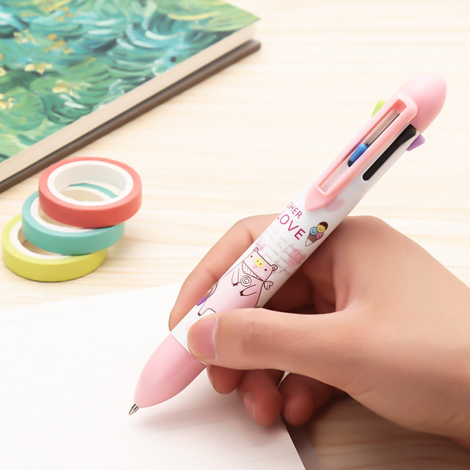 [해외]2pcs Kawaii 7color Ballpoint Pen For Office & School Supplies Cartoon Colored Stationery Writing Painting Graffiti Gift Gel Pens/2pcs Kawaii 7