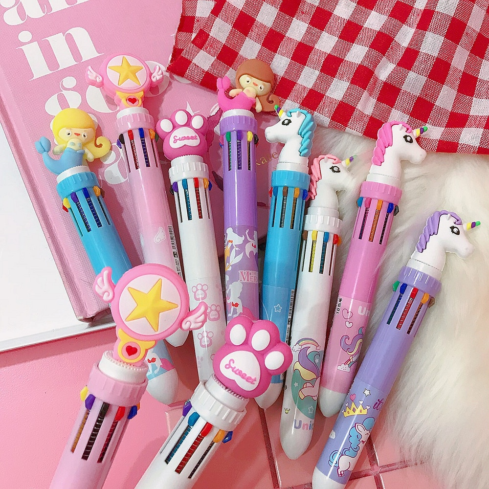 [해외]2pcs/lot Cute Cartoon Animal little girl 10 Colour Ballpoint Pen Multi Color Pen Student Press Ball Pen Boy Party Gifts/2pcs/lot Cute Cartoon Anim