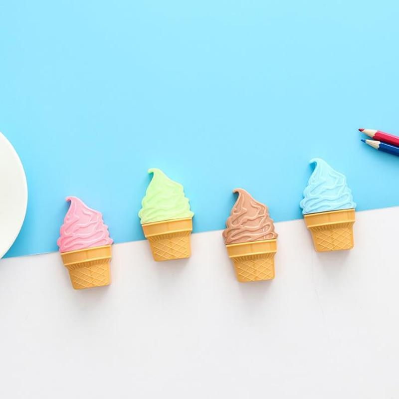 [해외]4 개/대 귀여운 미니 다채로운 아이스크림 모양 더블 구멍 플라스틱 연필 sharpeners 연필 커터 학생 편지지 선물/4 개/대 귀여운 미니 다채로운 아이스크림 모양 더블 구멍 플라스틱 연필 sharpeners 연필 커터 학생 편지지 선물