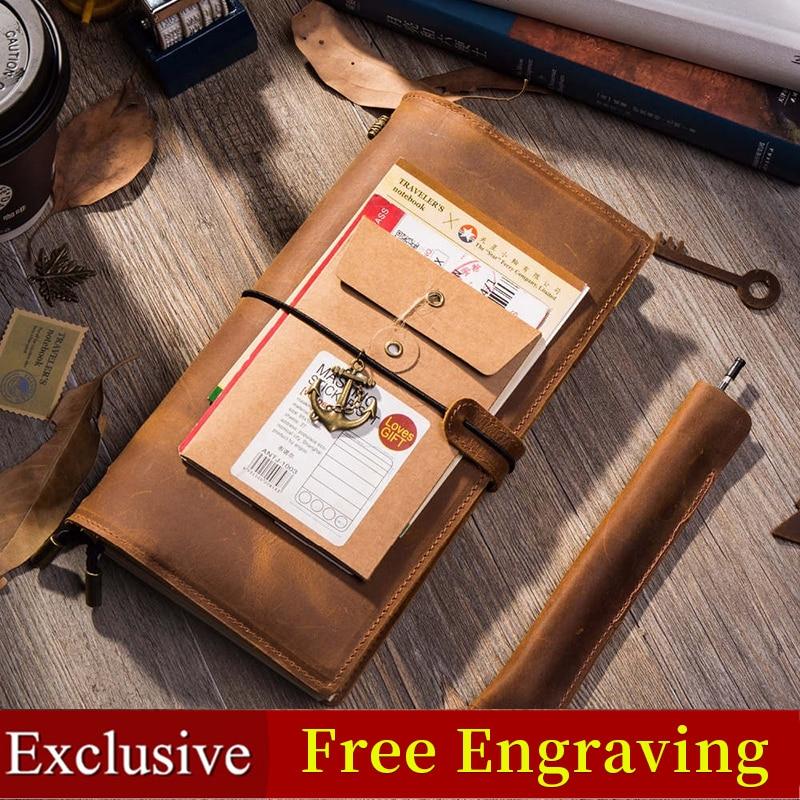 [해외]Genuine Leather Vintage Traveler`s Notebook Handmade Journal School Birthday Gift notepad planner bullet journal calendar diary/Genuine Leather Vi