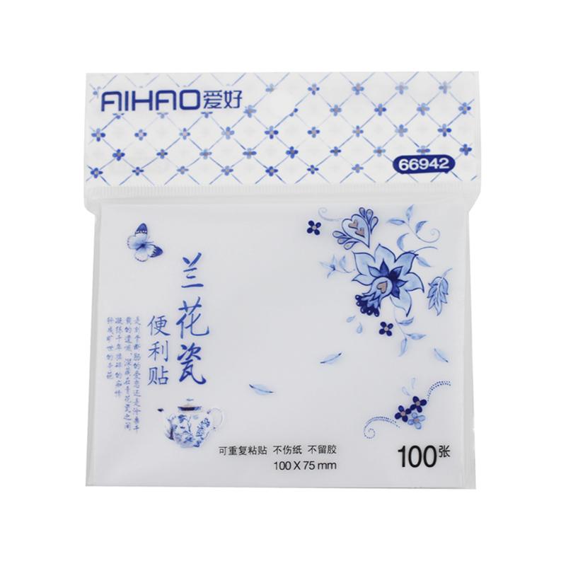 [해외]100 Sheets / lot Aihao 파란색과 흰색 도자기 스티커 메모 편지지 Scrapbooking Planner 메모장 Office School Supply/100 Sheets/lot Aihao Blue And White Porcelain  Sticky