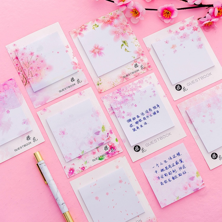 [해외]40 pcs/lot Fresh Cherry Sakura Natural Memo Pad Sticky Notes Shopping Check List Escolar Papelaria School Supply Label/40 pcs/lot Fresh Cherry Sak