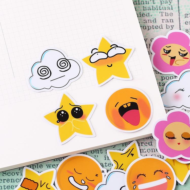 [해외]40pcs Creative Cute Self-made Petal expression Scrapbooking Stickers /Decorative Sticker /DIY Craft Photo Albums kawaii/40pcs Creative Cute Self-m