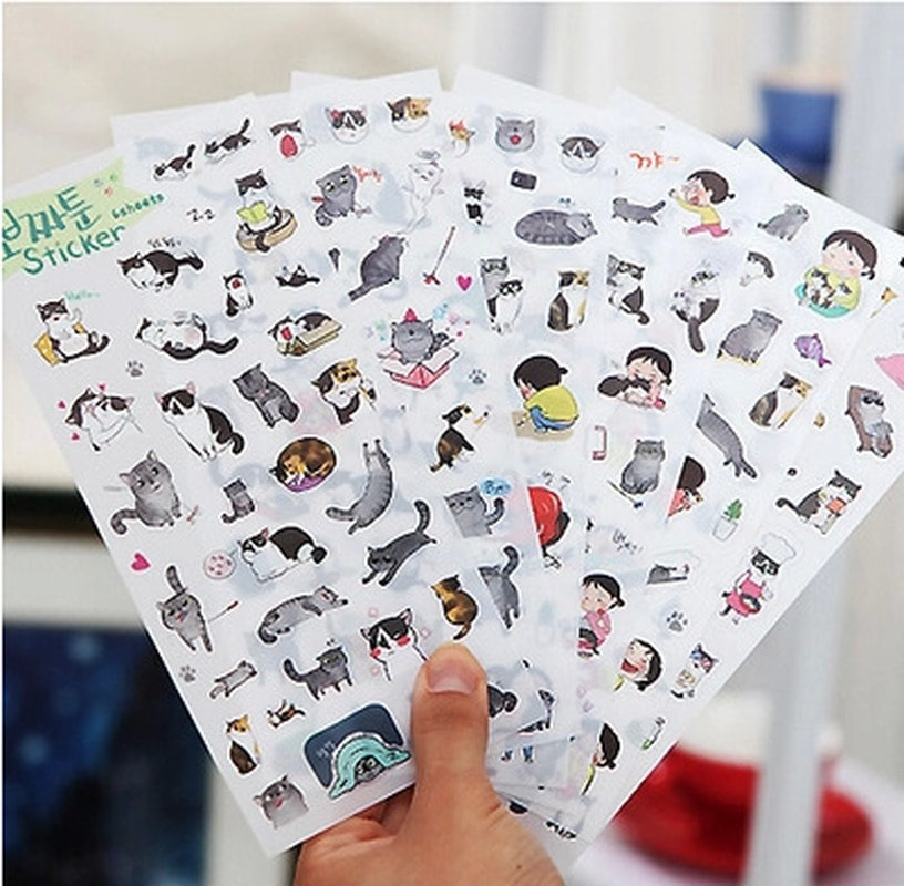 [해외]6pcs/pack Creative  PVC cute self-made summer cat stickers scrapbooking stickers /decorative sticker /DIY craft photo albums/6pcs/pack Creative  P