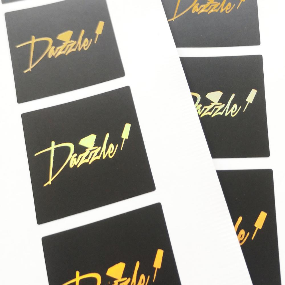 [해외]Custom order 3x3cm Gold color hologram stamping on matte black PVC label sticker, Item No. CU82/Custom order 3x3cm Gold color hologram stamping on
