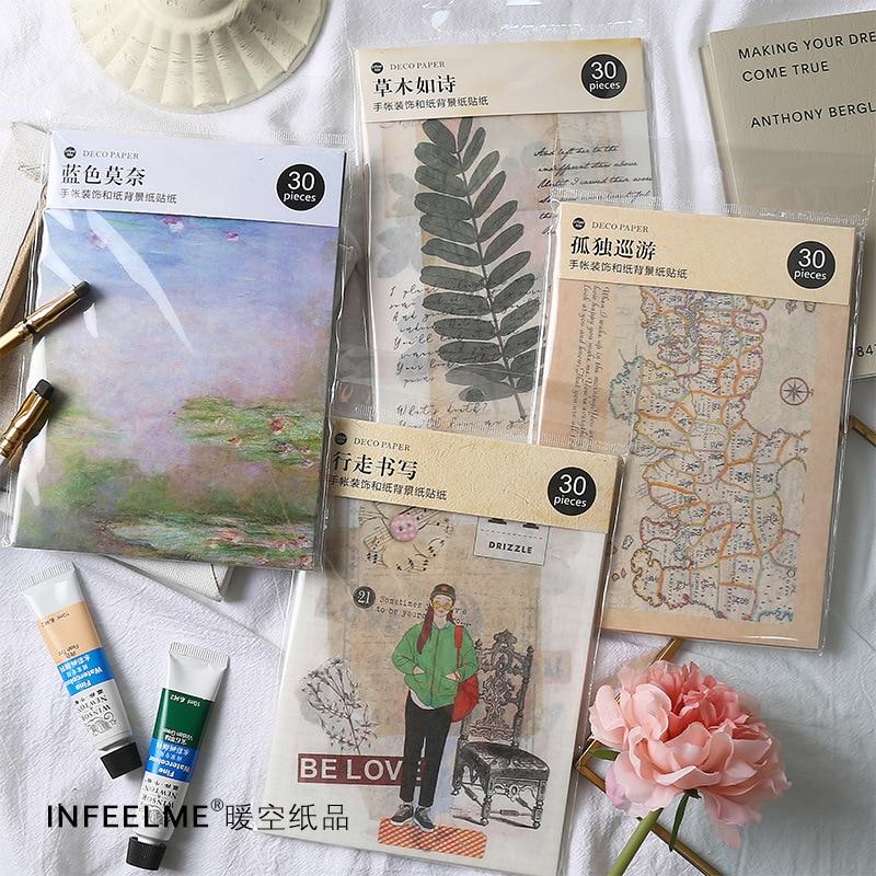 [해외]30 Sheet/set World Map Tour Vintage Washi Paper Sticker Retro Decoration DIY Diary Album Scrapbooking Sticker Escolar/30 Sheet/set World Map Tour