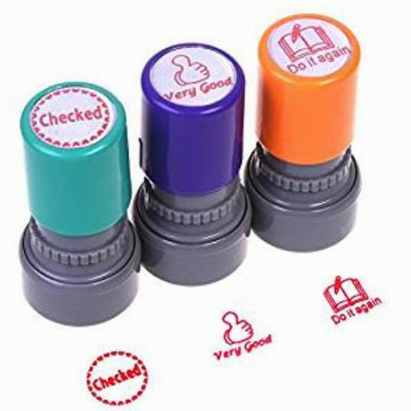 [해외]150 pcs No ink pad required Teachers Self-inking Rubber Stamps Teacher Review Stamps Handle In Random Color For School & Office/150 pcs No ink