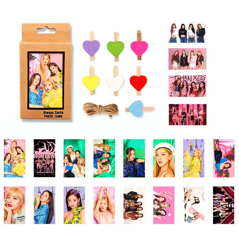 [해외]20Pcs/Set BLACKPINK Lomo Cards Self Made Paper Photo CardsClips Rope For Fans Collection Gift/20Pcs/Set BLACKPINK Lomo Cards Self Made Paper Photo