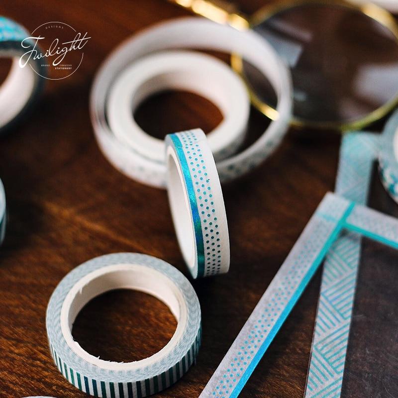 [해외]10pcs Gilding masking tape set 7.5mm glitter color lace barrier decoration washi tapes stickers Stationery School supplies A6194/10pcs Gilding mas