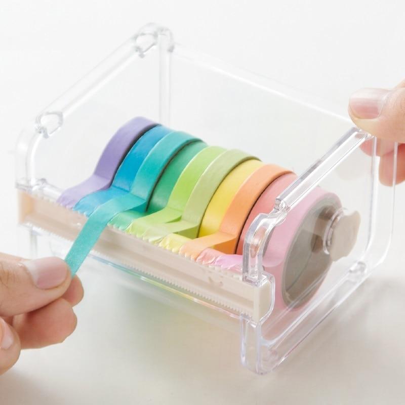[해외]Sixone 크리 에이 티브 washi 테이프 커터 세트 밴드 도구 사무실 편지지 테이프 디스펜서 테이프 투명 학교 용품