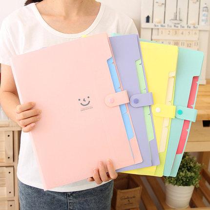 [해외]/Multi Color Smiley Cute Folder For Documents A4 File Folder 5 Pockets Expanding File FolderClosure