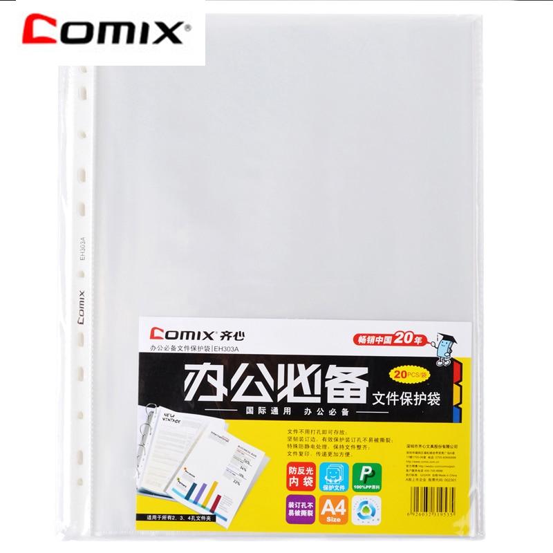 [해외]Comix 11 구멍 탄성 폴더 a4 크기 문서 가방 파일 폴더 20 개/몫 시트 수호자 eh303a/Comix 11 구멍 탄성 폴더 a4 크기 문서 가방 파일 폴더 20 개/몫 시트 수호자 eh303a