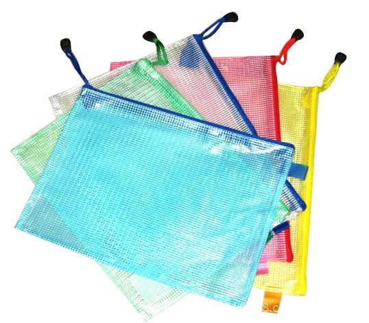 [해외]Office supplies A4 mesh zipper file bag Transparent portable student stationery bag/Office supplies A4 mesh zipper file bag Transparent portable s