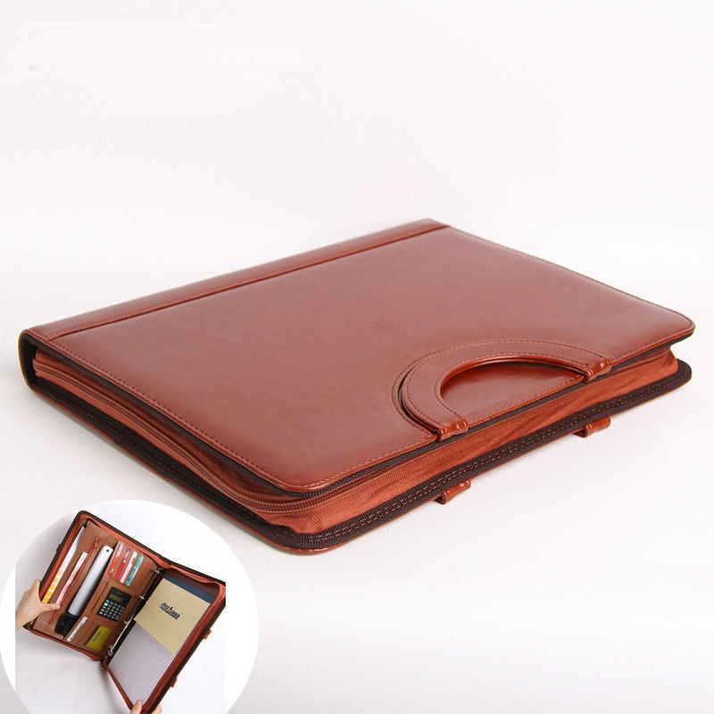 [해외]A4 Leather Portable Document Bag Padfolio Manager File FolderZipper Business Briefcasehandle calculator/A4 Leather Portable Document Bag Padfolio