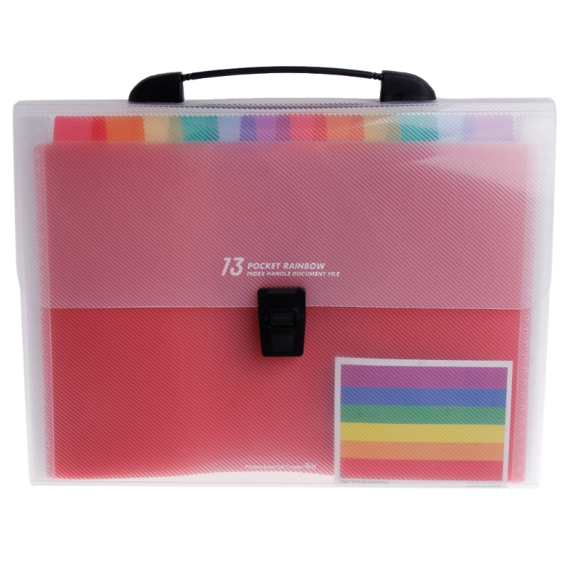 [해외]A4 Rainbow Expanding Document Folder 13 Pocket School Portable Accordion Bag/A4 Rainbow Expanding Document Folder 13 Pocket School Portable Accord