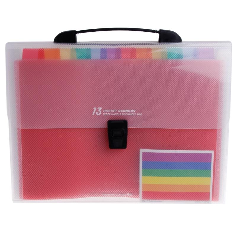 [해외]A4 Rainbow Expanding Document Folder 13 Pocket School Portable Accordion Bag/A4 Rainbow Expanding Document Folder 13 Pocket School Portable Accord