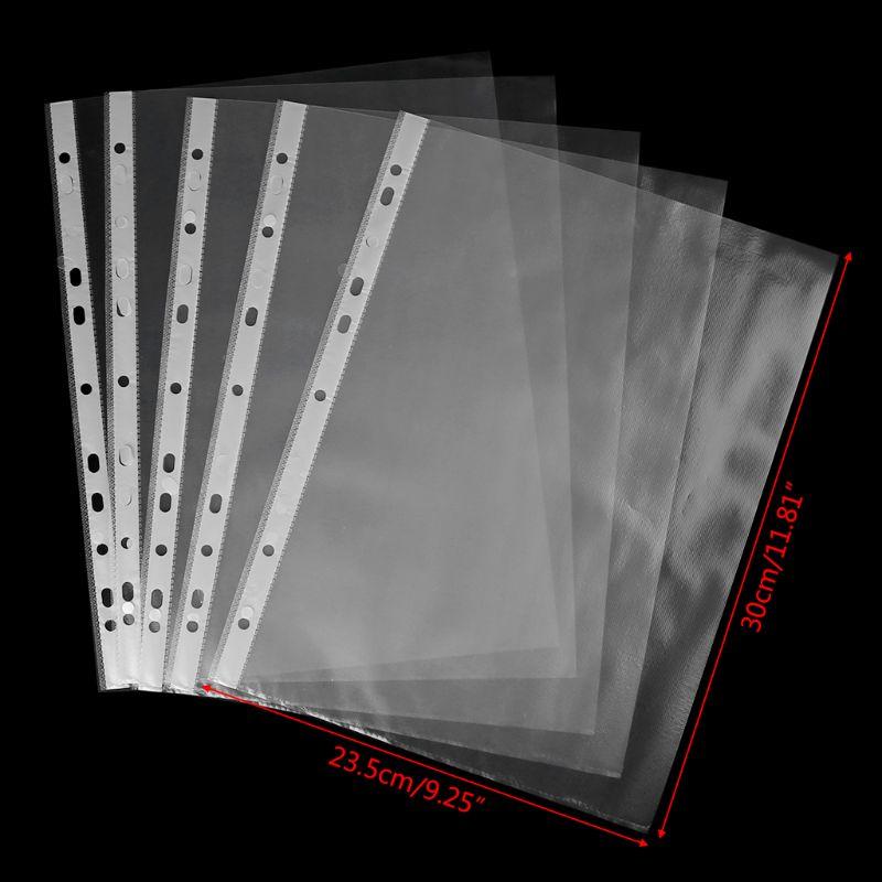 [해외]100pcs A4 Transparent Perforated File Storage Document Folder Case Bag Sleeves/100pcs A4 Transparent Perforated File Storage Document Folder Case