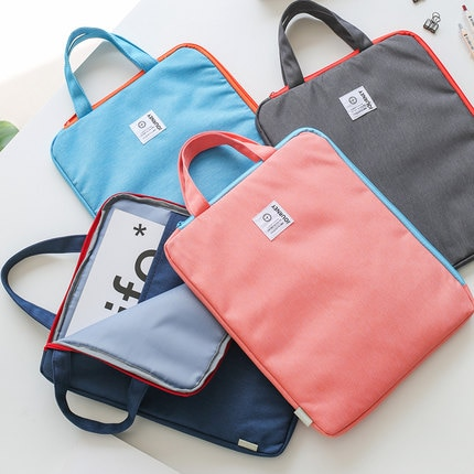 [해외]Solid Color Fashion Portable Document Bag Zipper Bag Canvas A4 Paper Organizer File Bag For Documents/Solid Color Fashion Portable Document Bag Zi