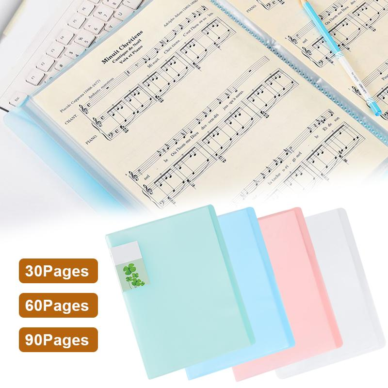 [해외]Candy Color A4 Transparent 30 Pages Lastic Folder Document Insert File Data Books Cover Holder Clip School Office Organizer/Candy Color A4 Transpa