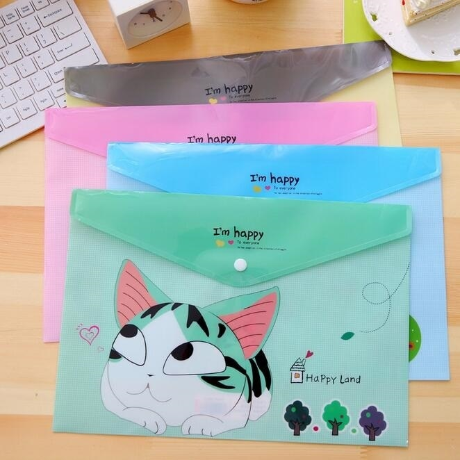 [해외]/24pcs/lot 335*230mm Kawaii Happy Cat A4 File Bag PVC Waterproof Filebag Document Bag DIY Stationery Bag Office School Supplies