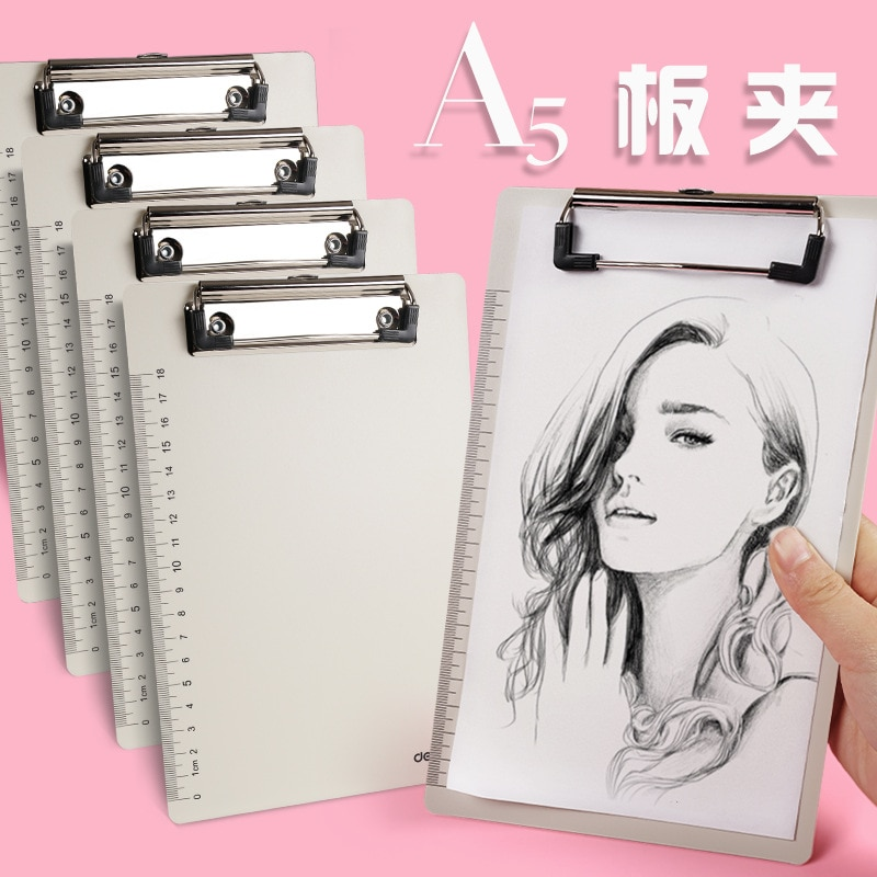 [해외]Deli Writing Board Clip PP A5 WordPad Quality Ruler Student Writing Drawing Pad Office Supply Portfolio Folder File Organizer/Deli Writi