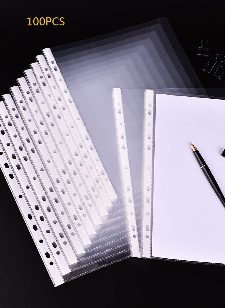 [해외]/100pcs PP Transparent Spiral File Bag for Binder Folder,  Archive Collection Loose Leaf 11Holes Filling Products Office Supplies