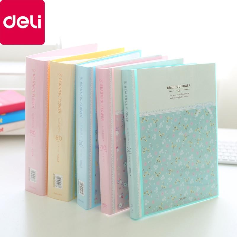 [해외]/Deli Fresh Flower Paper File Holders A4 Document Holder Paper Folder Storage Binder Pouch Package Office School 30/40/60/80pages