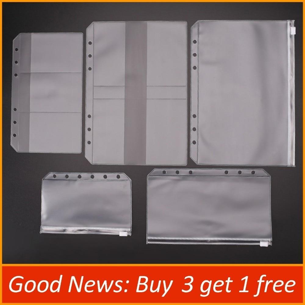 [해외]Transparent PVC Storage Card Holder For A5 A6 A7 Binder Rings Notebook 6 Hole Zipper Bag Pouch Diary Planner Accessories/Transparent PVC Storage C