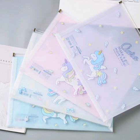 [해외]/1Pcs Cute Horned Horse Transparent PP Zipper Document Office Folder Package For A4 Paper File Folder 023