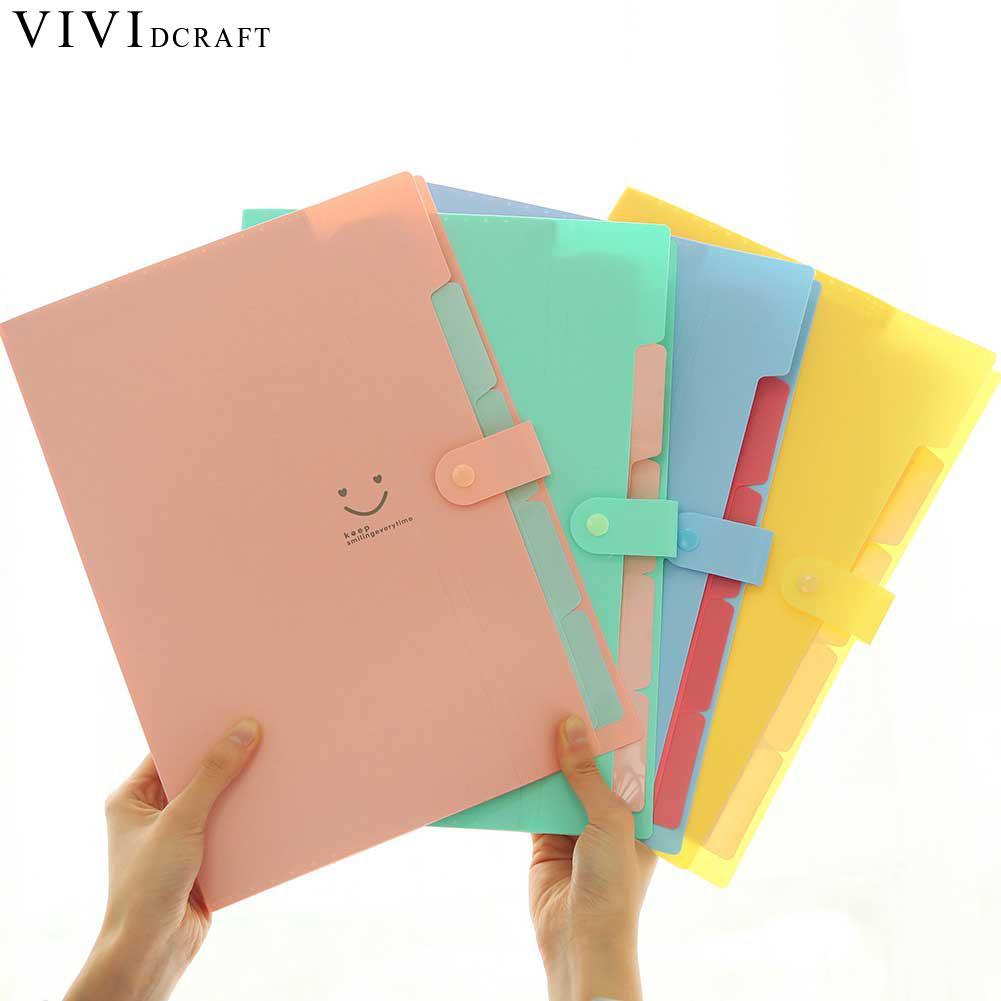 [해외]1*Candy Colors Waterproof A4 File Folder Smiling Face Design A4 Paper Document Bag Rectangle Folder Vividcraft Office Supplies/1*Candy Colors Wate