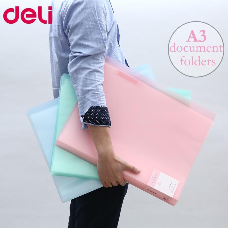 [해외]Deli A3 Data Document Presentation Folder 297*420mm 60/40 Page Transparent Folder Vertical Insert Document Booklet/Deli A3 Data Document