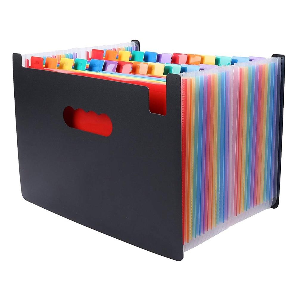 [해외]24 Pockets Expanding File Folder Large Space Design A4 Filing Folders Box File Business Home Office Document Accordion File /24 Pockets Expanding