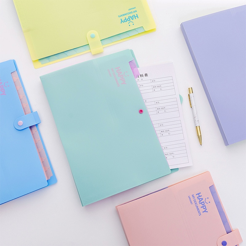 [해외]Creative Stationery A4 Document Bag Candy Color Smile Face File Folder Expanding Wallet Bill Folders Cute Office School Supplies/Creativ