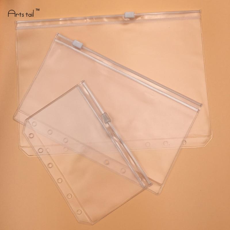 [해외]20 Pcs A5/A6/A7 PVC Bags Standard 6 Holes Transparent Loose-Leaf Pouch ComesSelf-Styled Zipper Filing Product Binder/20 Pcs A5/A6/A7 PVC Bags Stan