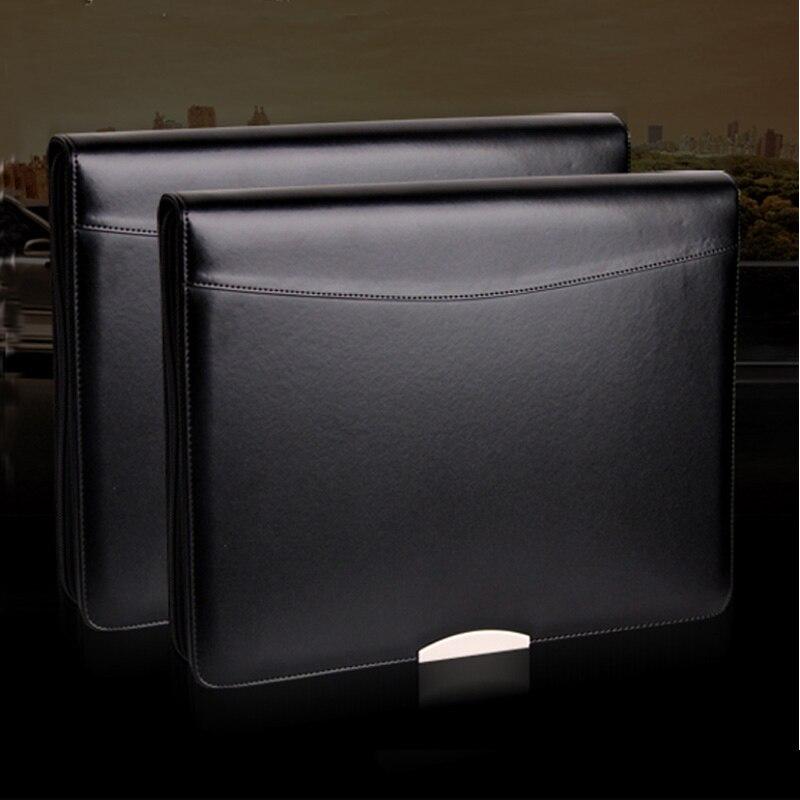 [해외]a4 leather file folder zipper portfolio briefcase A4 padfolio business manager bag ring bindermetal decorative sheet 448A/a4 leather file folder z