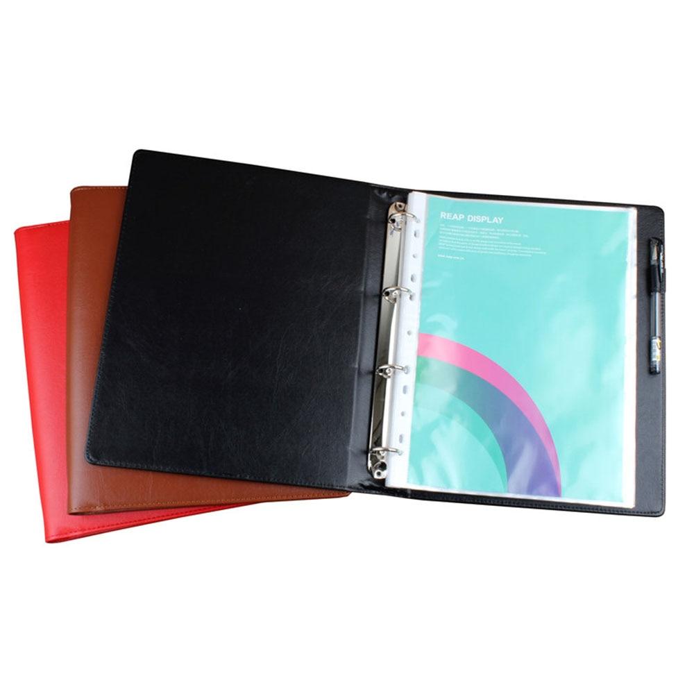 [해외]Pen loop A4 faux leather cover folder 4 Rings , A4 Custom Handmade Bindertransparent pockets/Pen loop A4 faux leather cover folder 4 Rings , A4 Cu