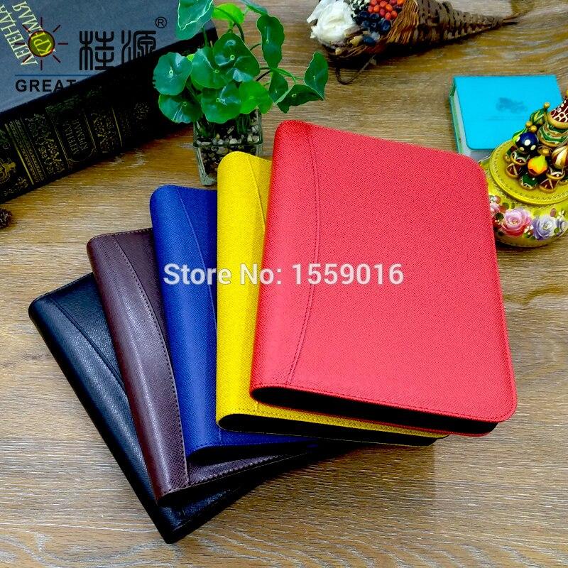 [해외]A5 Leather Zipper File Folder Binder Portfolio W/Calculator For A5 Planner W/Organizer Bag Color Sticker Soft Ruler/A5 Leather Zipper File Folder